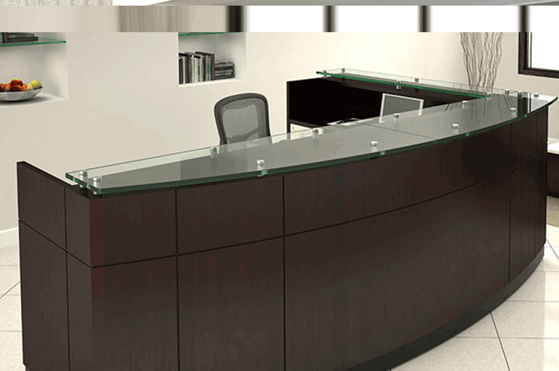Willow reception station dark wood with glass counter by Friant