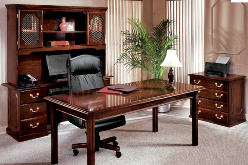 Governors Table Desk, Credenza & Hutch by DMI