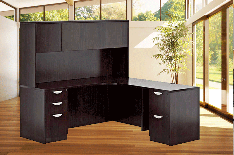 OTG L Shaped Desk With Credenza   Hutch