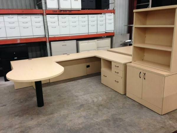 Maple U-Shaped Desk With Storage/Bookcase Cabinet. 4 In Stock. Used In Great Condition. $899.00.