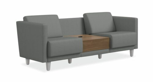 HON Grove Two-Seat Lounge With Table and Arms - Platinum Fabric